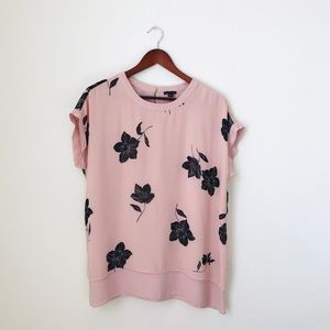 Ann Taylor•Pink Floral Top